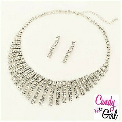 £8.99 • Buy Crystal Diamante Statement Geometric Spiral Necklace And Earrings Jewellery Set