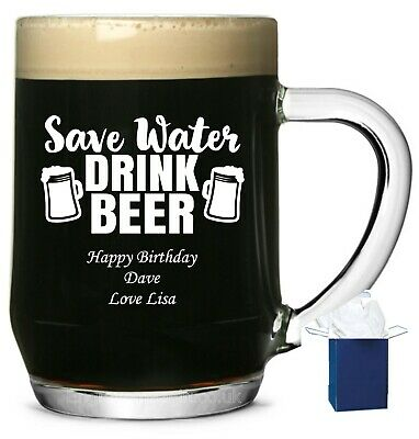Personalised Glass Tankard, Save Water Drink Beer, 18th, 21st Birthday Engraved • 9.99£