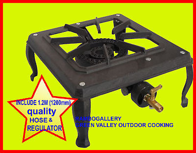 AU56.95 • Buy Portable Cast Iron Gas Burner Lpg Cooker Bbq Stove Benchtop Free Hose And Reg