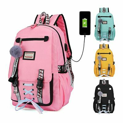 $18.99 • Buy Women Girls School Bag Waterproof Teenage Backpack USB Port W/ Anti Theft Lock