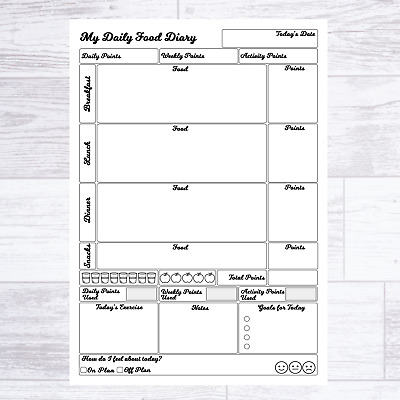 Weight Watchers Ww Compatible Food Diary Pages Diet Journal Planner Weight Loss • 4.99£