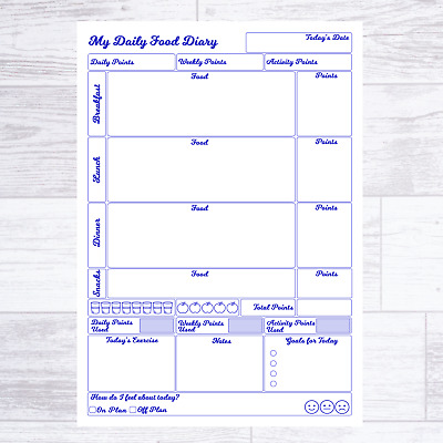 Weight Watchers Ww Compatible Food Diary Pages Diet Journal Planner Weight Loss  • 3.75£
