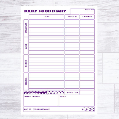 £5.49 • Buy A5 Calorie Counting Food Diary Diet Slimming Journal Page Planner Weight Loss
