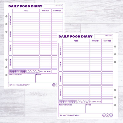 Calorie Counting Filofax Kikki Compatible Refill Food Diary Sheets Diet Diary • 5.99£