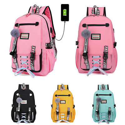 $18.98 • Buy Women Canvas Girls School Bag Backpack Waterproof W/Anti Theft USB Port Bookbag