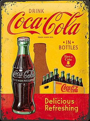 £17.99 • Buy Coca Cola In Bottles (crate) Large Embossed Metal Sign 400mm X 300mm (na)