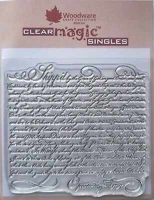 Woodware Clear Acrylic Stamp VINTAGE SCRIPT Background Shipped Oporto • 4.25£