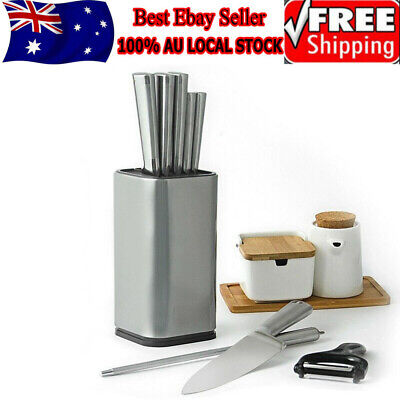 AU22.49 • Buy Universal Steel Knife Block Knives Holder Storage Rack Kitchen Stand Tool