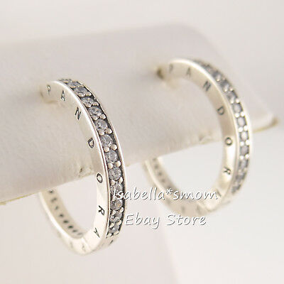 Authentic PANDORA SIGNATURE Silver LOGO HOOPS Earrings 290558CZ NEW With BOX • 53.86£