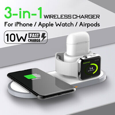 AU35.98 • Buy AU 3in1 QI Wireless Charger Charging Station Dock For AirPods Apple Watch IPhone