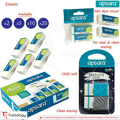 APSARA Non-Dust Quality Soft Rubber Pencil Erasers Neat Clean Erasing Easy Grip • 2.09£