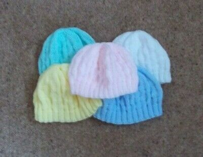 Hand Knitted Baby Hats Newborn:6 Shades • 2.50£