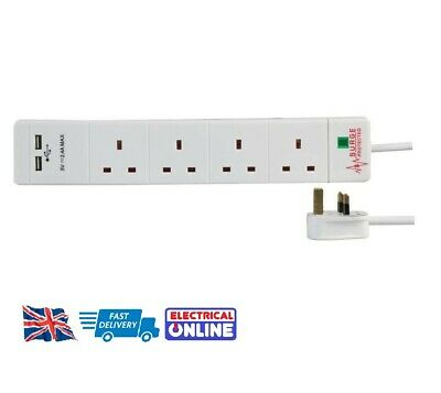 Surge Protected 4-Way Extension Lead  - White 4 Gang Multi Plug Socket With USB  • 12.99£