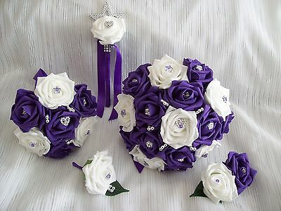 £39 • Buy Wedding Flowers Cadbury Purple & White Bridal Rose Bouquet Wand PACKAGE 5 Items