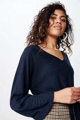 AU10 • Buy Cotton On Womens Mac Tie Front Kimono Sleeve Top L/S Tops  In  Blue