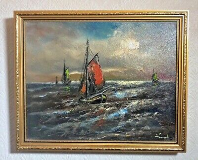 Vintage Yacht Sailing On Sea Oil On Canvas Framed Painting Signed Lovely Piece • 99.99£