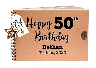 50 Birthday Guest Book, Scrapbook, Photo Album, Personalised Gift Idea 50th • 13.95£