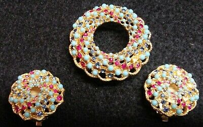 Vintage SARAH COVENTRY Brooch Pin Earrings SET Song Of India TURQUOISE & RED • 20$