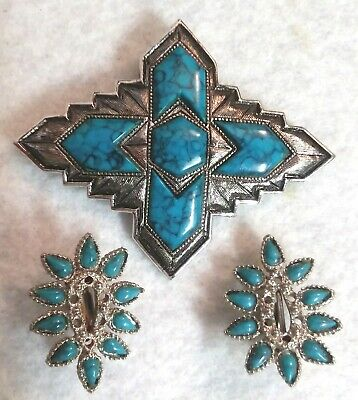 $20 • Buy Vintage SARAH COVENTRY Brooch Pin Earrings SET Southwestern TURQUOISE & Silver