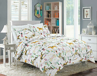 £14.89 • Buy Horse Show Printed Duvet Cover Set Polly Cotton Bedding Set Double King Sizes