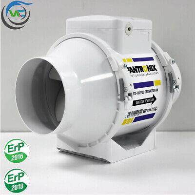 High Power Bathroom In Line Extractor Fan With Timer For 100mm / 4 Inch Ducting • 33.99£