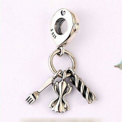 AU21.83 • Buy Authentic 100% 925 Sterling Silver Love Pasta Heart Dangle Charm Pendant