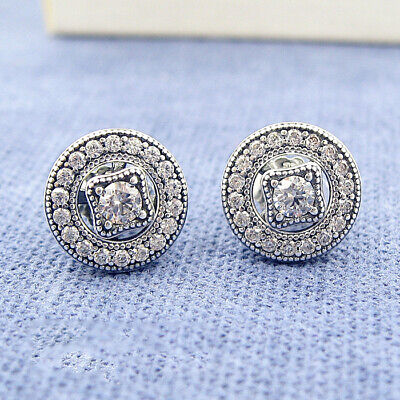 AU22.79 • Buy Authentic 100% 925 Sterling Silver Vintage Allure Clear CZ Stud Earrings