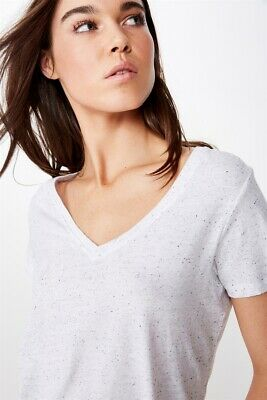 AU5 • Buy Cotton On Womens The Deep V S/S Tops  In  White