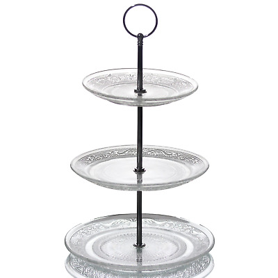 3 Tier Glass Cake Stand Afternoon Tea Wedding Plate Party Tableware Display • 8.95£