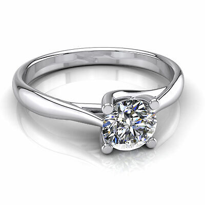 $ CDN3763.46 • Buy Solitaire Diamond Engagement Ring One Carat Round Shape F/VS2 14k White Gold