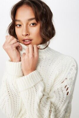AU15 • Buy Cotton On Womens Perry Pointelle Mock Neck Knits  In  White