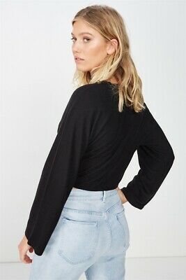 AU10 • Buy Cotton On Womens Mac Tie Front Kimono Sleeve Top L/S Tops  In  Black