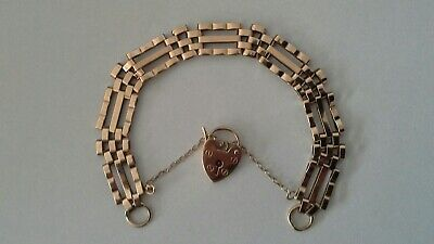 £350 • Buy 9ct YELLOW GOLD 3 BAR GATE BRACELET WITH HEART PADLOCK 14.2g PREOWNED