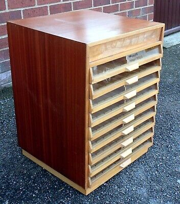 1960s Vintage Teak Beech Glazed 9 Drawer Collectors Jewellery Cabinet Chest • 225£
