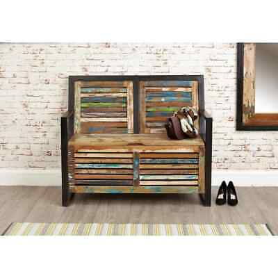 Urban Chic Reclaimed Wooden Storage Monks Bench With Shoe Storage • 366.84£