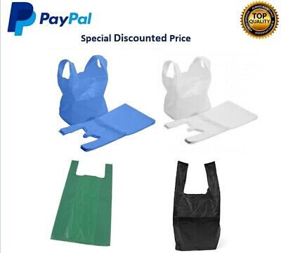 £4.45 • Buy Plastic Carrier Bags Strong Vest Shopping Supermarket Shop Takeaway [all Sizes]