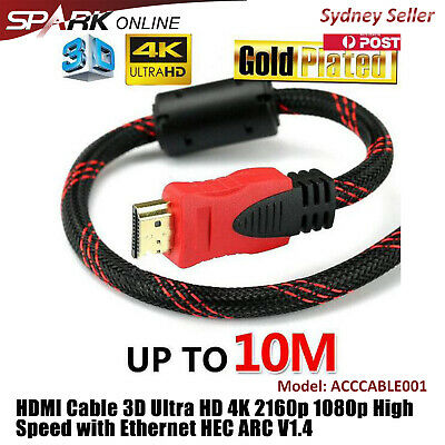 AU7.69 • Buy High Speed HDMI Cable 3D Ultra HD 4K 1080p 2160p With Ethernet HEC ARC V1.4 AH