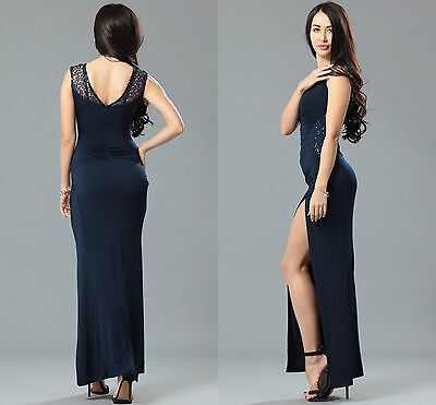 Ladies Women Ball Prom Party Celeb Blue Side Lace Runched Long Maxi Dress 8 10 • 14.24£