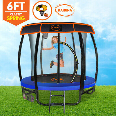 AU589 • Buy 6ft Trampoline Free Safety Net Spring Pad Roof Cover Mat Ladder Basketball Set