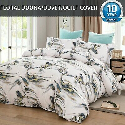AU30.99 • Buy Gray Floral Doona/Duvet/Quilt Cover Set Queen/King Size Bed Pillowcase Clearance