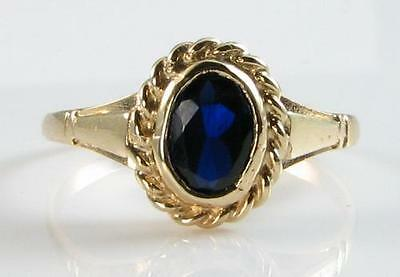 £189 • Buy  DAINTY 9k 9CT GOLD  BLUE SAPPHIRE SOLITAIRE ART DECO INS RING  FREE RESIZE