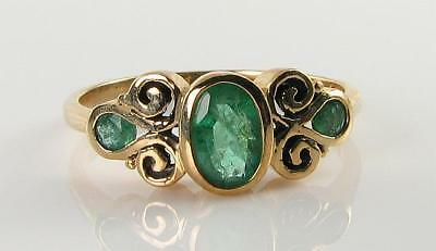 Lush 9k 9ct Gold Colombian Emerald Vintage Ins Trilogy 3 Stone Ring Free Resize • 249£
