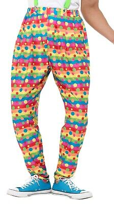 £13.99 • Buy Mens Bright Colourful Spotty Striped Baggy Clown Trousers Circus Fancy Dress