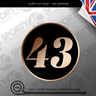 $13.25 • Buy 2x150mm Cafe Racer Round Number Vinyl Decal Sticker Classic Ace 2112-0319