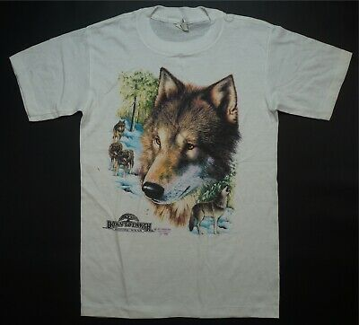 $ CDN134.04 • Buy Rare Vintage 3D EMBLEM Down To Earth Wolf 1990 Single Stitch T Shirt 90s White S
