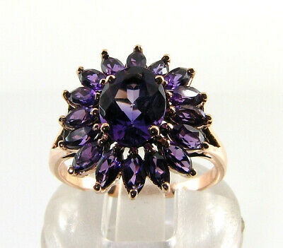 £299 • Buy  9K 9CT ROSE GOLD AAA Amethyst ART DECO INS CLUSTER STARBURST RING FREE RESIZE