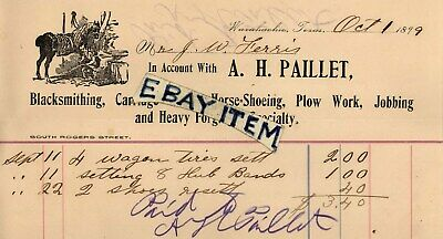 1899 Blacksmith SIGNED BILLHEAD Waxahachie Texas A.H. PAILLET Horseshoeing FORGE • 139.30$