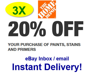 $3.39 • Buy (3X)THREE Home Depot 20% OFF Paint Promo.3Coupons In-store Only-fast Delivery