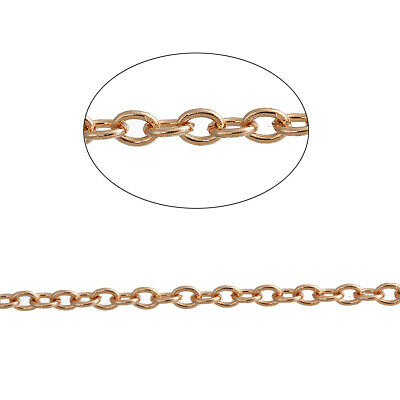 ❤ 5 Meters CHAIN CABLE 3mm X 2mm Wholesale ROSE GOLD Plated BULK Jewellery UK ❤ • 2.95£