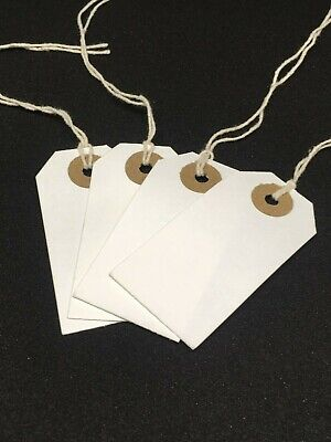 White Xmas Present Tags String Tie On Luggage Tag Parcel Price Label Ticket • 2.95£
